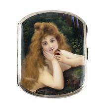 "Sterling Silver Hand Painted Enamel Portrait Cigarette Case ""Eve"", nude figure"