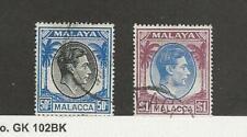 Malaya Malacca, Postage Stamp, #14-15 Used, 1949, JFZ