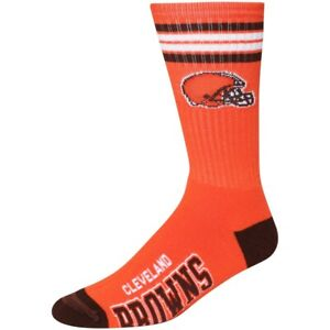 NEW Cleveland Browns Reverse Stripe Deuce Crew Socks NFL 2 Sizes Available Orang
