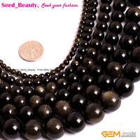 "Natural Stone Genuine Gold Obsidian Gemstone Jewelry Making Beads Strand 15"""