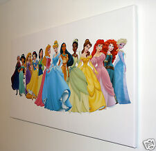 DISNEY  FROZEN PRINCESSES CANVAS PRINT WALL ART  PICTURE 18 X 32 INCH