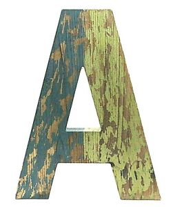 """Distressed Wooden Letter A 12"""" Blue and Green Over Wood Shabby Chic NWOT"""