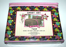 TWIN BED SHEETSET PEACE AND LOVE COTTON RICH 3 PIECE SET BEDSHEET
