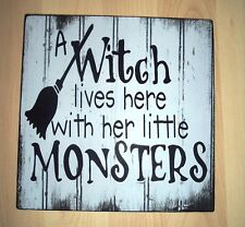 shabby vintage chic halloween witch & little monsters fun sign plaque