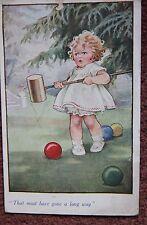 Comic Sport Croquet Player Girl 1934 Vintage Artist Drawn Postcard PC