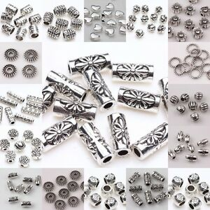 20/50/100pc Tibetan Silver Loose Tube Spacer Beads Charms Jewelry Making DIY