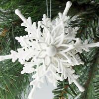 3D WHITE SNOWFLAKE Frozen Christmas Hanging Paper Fan Xmas Party Decorations UK