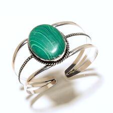 Preety Silver Plated Malachite Bracelet Cuff Bangel  Handmade Gemstone Jewelry