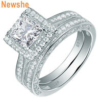 Newshe Women Wedding Engagement Ring Set 2.8Ct Sterling Silver Princess Cz 5-10