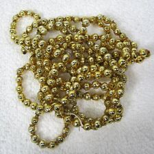 "Vintage Bright Gold Mercury Glass Bead Christmas Garland 84"" 1/4"" Beads Gld7"