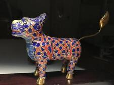 China Old Copper Cloisonne Enamel Feng Shui Animal Kylin Kirin  Kilin Statue F33