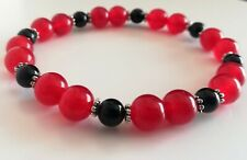 Red ruby black onyx bracelet bead gemstone blood stone July birthstone gift