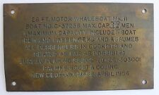 1954 WHALEBOAT Brass or Bronze Occupancy Plaque~~NewBedford, Mass.