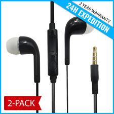 2-PACK EAR HEAD BUDS EARPHONES PODS ECOUTEUR- MIC & VOLUME FOR SAMSUNG BLACK
