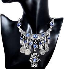 Gypsy Bohemian Vintage Ethnic Kabbalah Evil Eye Statement Bib Necklace Charm New