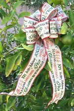 HOLIDAY PRINT CHRISTMAS BOW FOR TREE TOPPER, GIFTS, DECOR