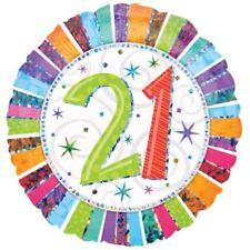 Radiant anniversaire 21 Ballon PLAT MULTICOLORE RAYURES Décoration de fête