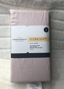 New Ultra Soft Flat Sheet (Twin XL )Light Pink Linen 300 Thread Ct  By Target