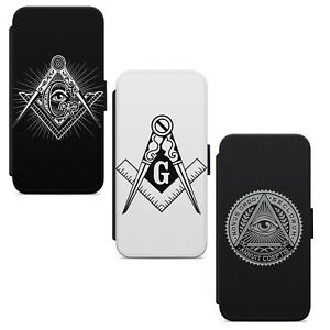 Masonic Mason Logo Symbol WALLET FLIP PHONE CASE COVER FOR IPHONE SAMSUNG HUAWEI