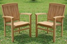 QTY 2 STACKING ARM DINING CHAIR A GRADE TEAK GARDEN OUTDOOR FURNITURE PATIO WAVE