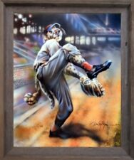 Dog Playing Old Time Baseball Motivational Sports Fine Wall Art Framed Picture