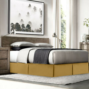 """Luxury Dust Ruffle Double Brushed Microfiber Pleated Bed Skirt 14"""" Tailored Drop"""