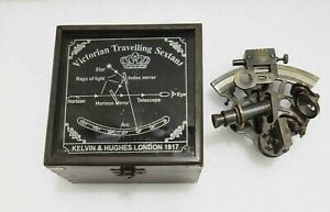 """4"""" Vintage Solid Antique Brass Nautical Functional Maritime Sextant"""