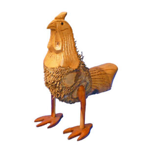My Family House Chicken Statue in Brown - Bamboo Root - Hand Carved