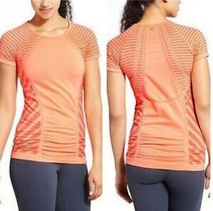 Athleta Women's Orange Jet Stripe Fastest Track Running Tee Short Sleeves Size L