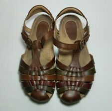 Earth Origins Teagan Sandals Womens 7M Brown Leather Strappy Cushion Rubber Sole