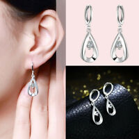 Wedding Party Silver 925 Charm Crystal Women Hoop Dangle Earring Jewelry Fashion