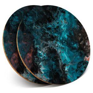 2 x Coasters - Blue Ink Resin Art Modern Pattern  #44370