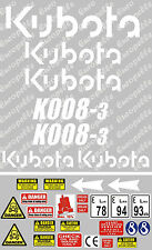 Decal Sticker Set Pour: Kubota K008-3. Mini Digger/Pelle/Sticker K008