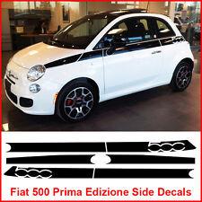 FIAT 500 PRIMA EDIZIONE LATERALE RACING strisce Decalcomanie Adesivo Grafica Nero