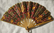 Vintage Bali hand fan. Lovely fabric and bamboo Balinese handfan.