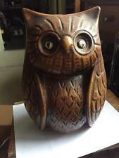 Vintage Large Ceramic Calif USA #28 Brown OWL  Piggy Coin Bank