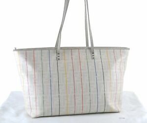 Authentic FENDI Zucca Shoulder Tote Bag PVC White D7984
