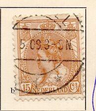 Paesi Bassi 1898-99 primi WILHELMINA problema BELLE USATO 15 quater. 149312