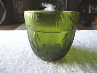 """Vintage Heavy Made Green Glass Bowl With Leaf / Plant Type Of Design """" BEAUTIFUL"""