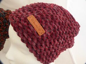 Super Soft Burgundy & Grey Brimless Beanie Hat -hand made- 9in x10in- Brand New