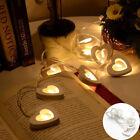 Warm White 10 Wooden Heart Led Battery Fairy String Light Xmas Wedding Decor New