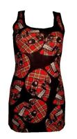 NEW LADIES UNIQUE RED TARTAN SKULLS PRINT LONG VEST TANK TOP GOTH PUNK EMO
