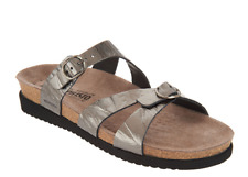 MEPHISTO Leather Double Strap Slide Sandals - Hannel Grey Etna Women's 35 US 5