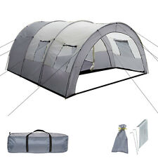 XXL Tenda Campeggio 4 - 6 Persone Posti Tendone Camping Famiglia Grigio