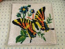 Vtg Completed Glass Seed Beaded Butterfly & Flower Finished Needlepoint Tapestry