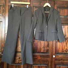 Ann Taylor Signature Charcoal Gray Striped Blazer Size 6P Pants Sz 6 Lined Suit