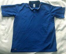 Adidas ClimaLite Men's Short-Sleeve Button-Neck Three Stripes Blue Polo Size Xl