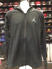 822658-010 Men's Jordan Sportwear Full-Zip Fleece Hoodie Black/White NWT