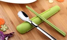 Artiart Chopsticks & Spoon Set Japan Kitchen Flatware Pack Metal Plastic Cutlery