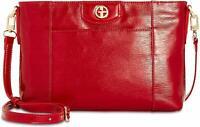 Giani Bernini Women's Bark Patent Crossbody Handbag (Red)